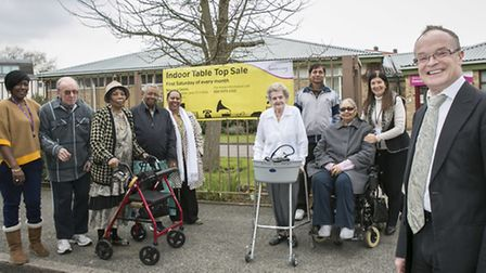 Cllr Neil Wilson with staff, volunteers, and residents who use the centre. Picture: Andrew Baker