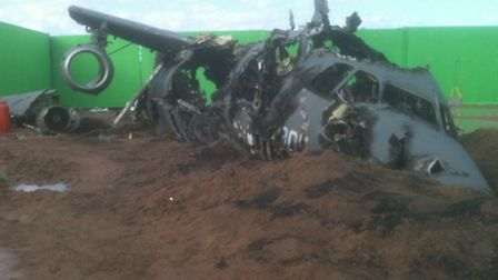 One of the wrecked planes after it was blown up on the set of Tom Cruise film All You Need Is Kill
