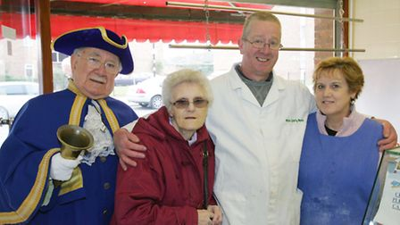 Harry Matthews and Vi Foster with local butchers Tony and Vivienne Miles