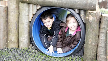 Shaahid and Wiktoria in the new playground.