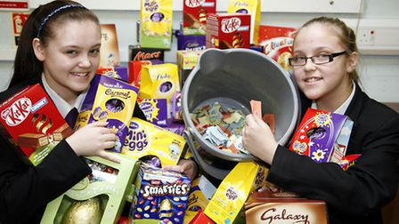Sisters Chloe and Ellie Fordham with the Easter eggs (photo: Sandra Rowse)