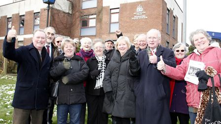 Residents and councillors from the Church End, Monkhams and Roding wards outside Woodford Police Sta