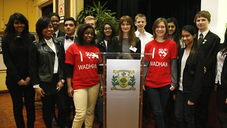 Pupils from Redbridge secondary schools with members of Wadham College, Oxford University