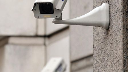 A generic picture of two CCTV cameras on the side of a building in central London.
