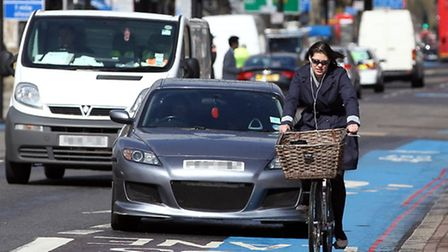 A cyclist using the Cycle Superhighway in London