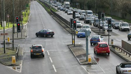 Drivers make U turns on the A12 at the junction with Barley lane
