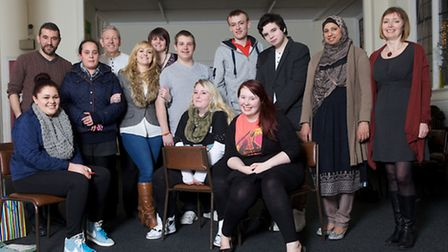 L-R: Al Nedjari, facilitator from the National Theatre, and Jo Joyner, with carers from the Redbridg