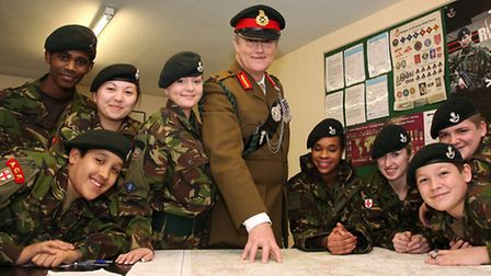 Young Newham Army Cadets meeting Major General Greg Smith in West Ham.