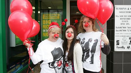 Comic Relief at Symons and Gay solicitors in Romford. Christine Ring, Natasha Artingstall, and Pam