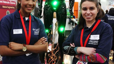 Biomedical Engineering students Jilan Hussein, left, and Anna Varone from Queen Mary University of L