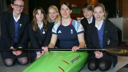World Champion canoeist Lizzie Neave with students from Forest school