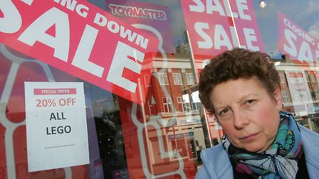Sharon Roberts, an assistant buyer at Toyology, outside the store which will close this month