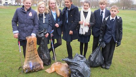 Brentwood County High School pupils were litter picking in Shenfield Common last week.