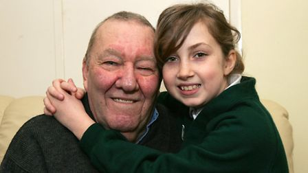 Ex-smoker Derek Wright, with granddaughter - and inspiration - Courtney Wright, nine.