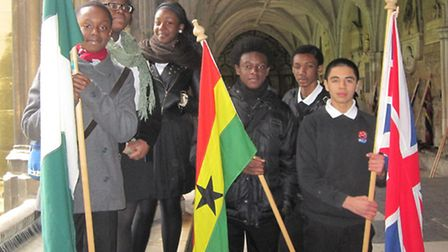 Students from Eastlea Community School with their Commonwealth flags.