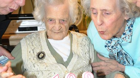 Violet Herbage celebrates her 102nd birthday at Derham House with her family. L-R: son in-law Michae