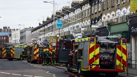 More than 30 firefighters attended the scene of the fire in Cranbrook Road. Picture: David Martin