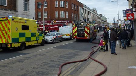 Customers were quikcly evacuated from the PDSA shop when the fire started. Picture: David Martin