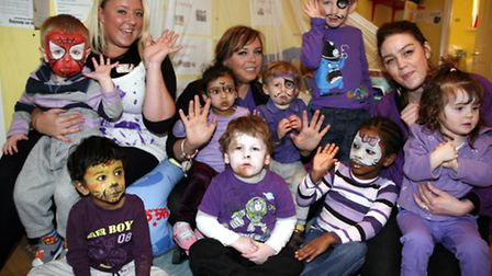 Youngsters at the Ladybird Nursery's 'purple day' (photo: Sandra Rowse)