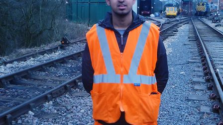 Farhan Pervaiz, 18, on a work placement at Epping Ongar Railway.