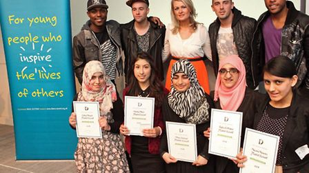 The Young Lifesavers with business leader and philanthropist Kate Hardcastle and X Factor finalists