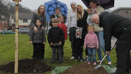 David Taylor and relatives planted one of the trees in Brocket Close in memory of his wife Glynis