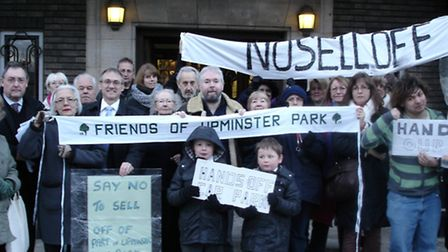 Protest at Havering Town Hall against plans to sell off the Old Windmill Hall carpark on Tuesday nig