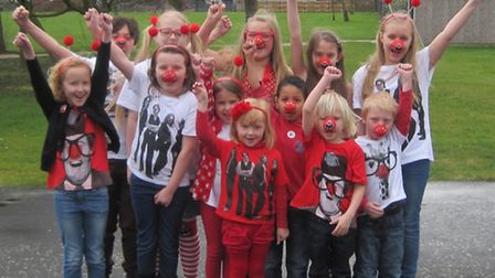 Children from Parsonage Farm Primary School wore red to raise money for Comic Relief.