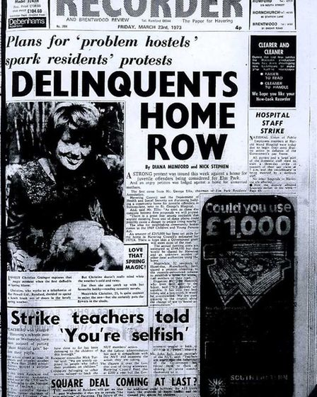 The Romford and Hornchurch Recorder front page from March 23, 1973