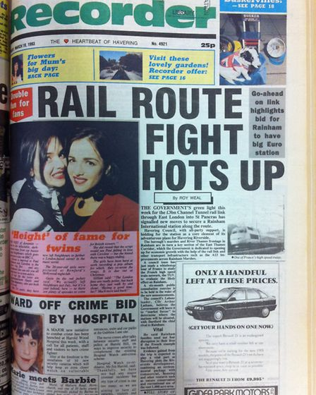 Romford Recorder front page from March 19, 1993