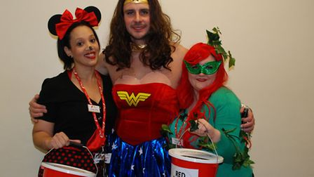 Staff at Redbridge College join in the Red Nose Day fun