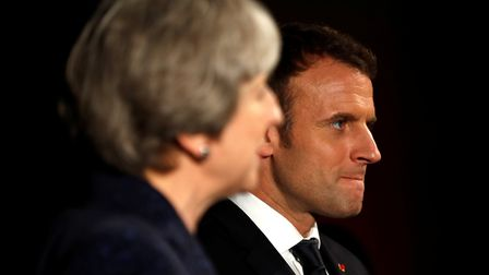 French President Emmanuel Macron and British Prime Minister Theresa May. Photograph: Peter Nicholls/