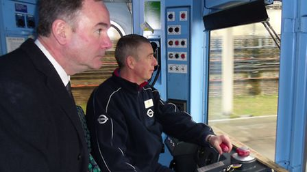 MP Jon Cruddas and train operator Frank Miller on the old District Line tube trains
