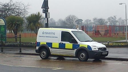 An enforcement vehicle parked in the loading bay in Corbets Tey Road.