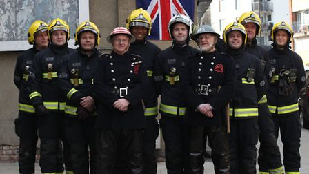 The White Watch from Stratford Fire Station together with Roy Goodey and Neil Bloxham, from charity