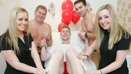Shellie Rawlings and Jayme Smith wax the legs and chests of Ian Moore, Will Boden and George Dixon f