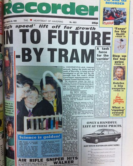 Romford Recorder front page - week 13, 1993