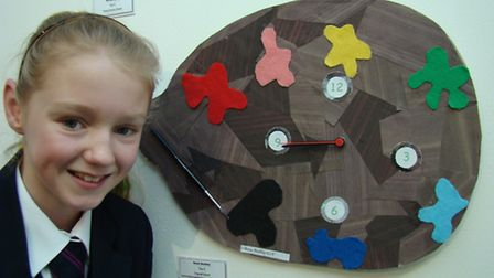 Rosie Beckely with her art.