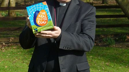 The Bishop of Chelmsford Stephen Cottrell with his Real Easter Egg.