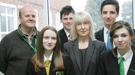 Bower Park Headteacher Mary Morrison pictured with staff and students