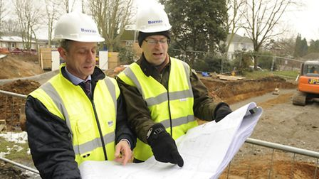 Adam Bowden, managing director of Borras Construction with Cllr Andrew Curtin, Havering's cabinet me