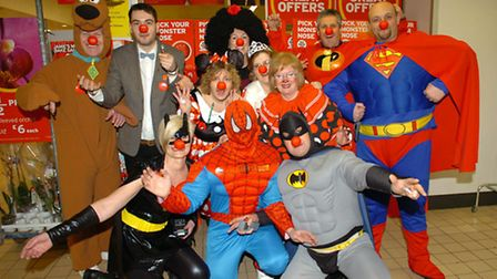 Sainsbury's staff dressed up as cartoon characters for Red Nose Day in 2011.