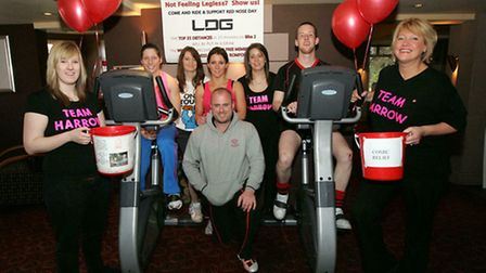 Staff from the Harrow Pub and Hornchurch Hockey club did a 12-hour cyclethon for Comic Relief in 201