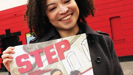 Lynette Lynton, 23, from Leytonstone, with a poster of her play outside the Theatre Royal. Picture: