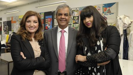 Karren Brady with Ashok Vaswani, Jameela Jamil. Photo by Anthony Upton/PA.