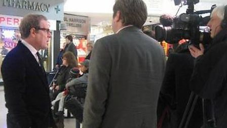Clive Dutton, Olympic renegeration boss, being interviewed by Al-Jazeera in the Stratford Centre on