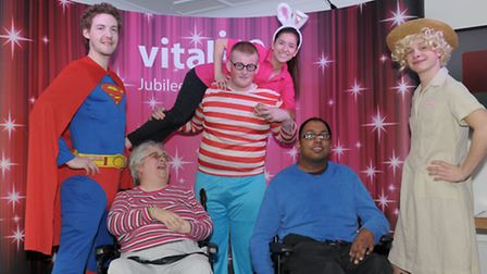 Empoyess and volunteers at Vitalise Lodge dress up and entertain the residents. L to R Jono Dowell,