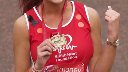 Amy Childs at the finish the 2013 London Marathon. Picture: Keith Larby/iwitness