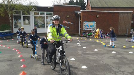 The children learned cycle safety advice. Picture: Met Police