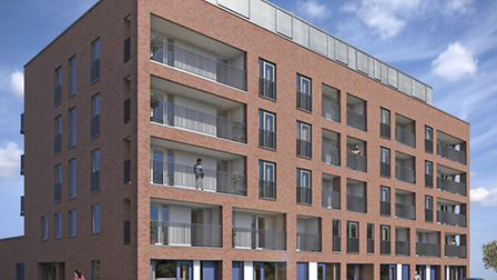 A computer generated image of Centrum Apartments in Canning Town.
